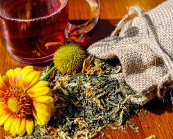 Herbal treatments to purify skin and for hair care used in cosmetology