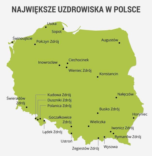 infografika - uzdrowiska w Polsce